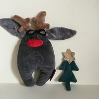 Steampunk Grey Reindeer Bunny with Red Nose