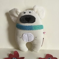 Plushie Polar Bear and Scarf, Handmade Polar Bear with Knitted Scarf, Nursery