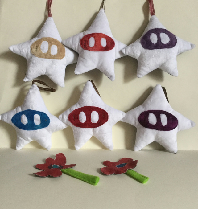 Plushie Star, Handmade White Star Decoration with a face. Nursery, Kawaii