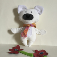 Scarfed Polar Bear, Handmade Plushie Polar Bear with Knitted Scarf, Nursery