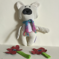 Polar Bear With Scarf, Handmade Plushie Polar Bear with Knitted Scarf, Nursery