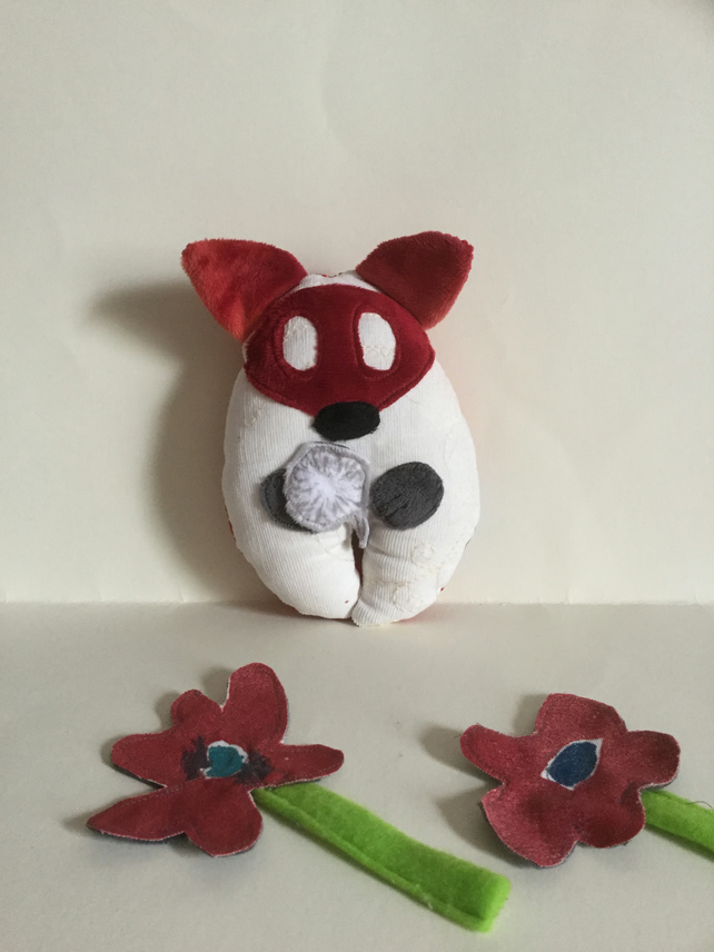 Fox Plushie, Handmade Fox Wish Guardian plushie with silver Dandelion, Nursery