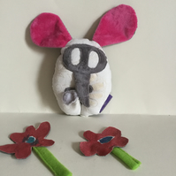 Pink Elephant Plushie, Handmade Elephant Wish Guardian with Dandelion, Nursery