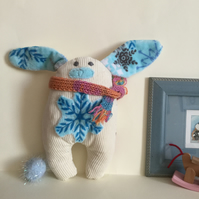 SnowFlake Bunny with scarf, Handmade Eco Friendly Cream Plushie Bunny  Nursery