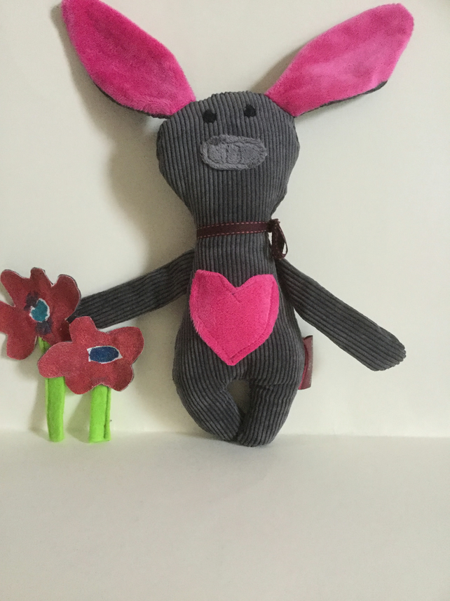 Candy Pink Heart Bunny Plushie, Handmade Bunny with candy pink  heart, Nursery