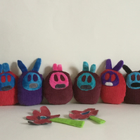 Pocket Monster Bunny Handmade Plushie, gift, Newborn, nursery