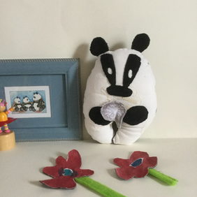 Badger Plushie, Handmade Badger Wish Guardian with silver dandelion, gift