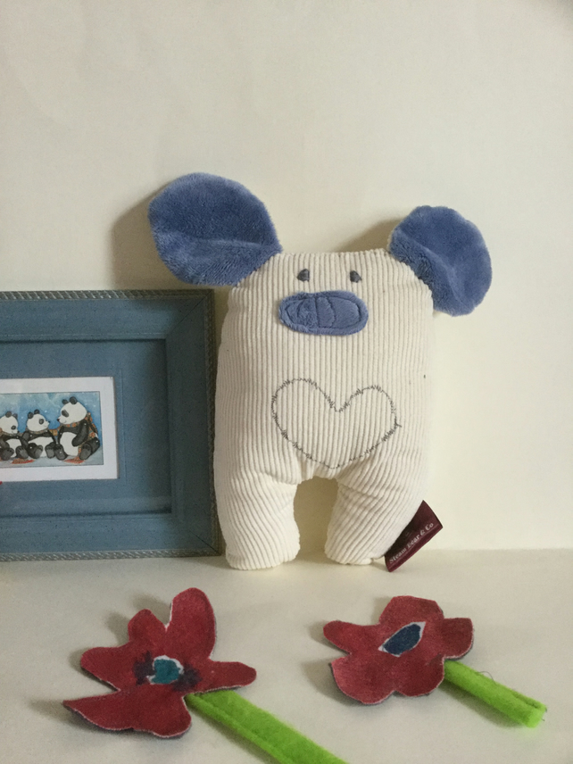 Blue Eco Snow Bear Handmade plushie with heart, Nursery, gift