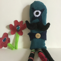 One Eyed Star Steampunk Monster Plushie with Moustache and Three Legs, gift