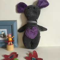 Grey Mouse Plushie, Handmade Plushie Grey Mouse with Heart, Nursery, Kawaii