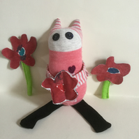Handmade Peach Sock Desk Buddy with Red Flower, Nursery Decor, Gift