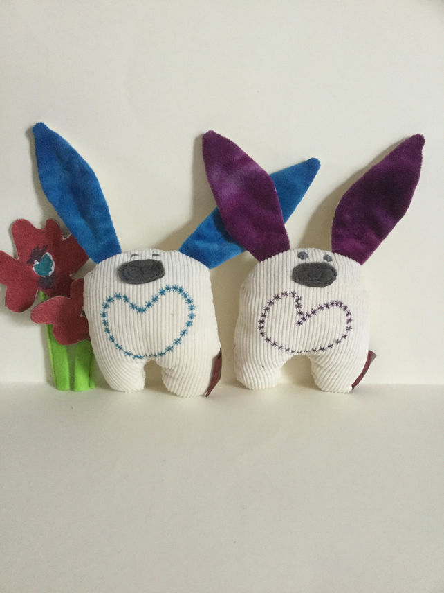 Pocket Bunny, Handmade Eco Soft Toy Bunny with Heart, Gift