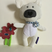 Handmade Soft Toy Polar Bear with the moon and stars, nursery, gift