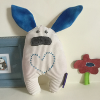 Handmade Plushie Bunny with Blue Heart, Nursery, Baby Soft Toy