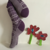 Mauve Sock Dude Plushie, Handmade plushie Leaning Sock Dude, Nursery, Desk Toy,