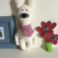 Ivory Polar Bunny Handmade Plushie with scarf, gift, Nursery decor