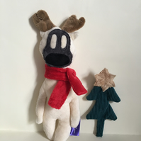 Ivory Reindeer Handmade Plushie with red scarf, Christmas gift