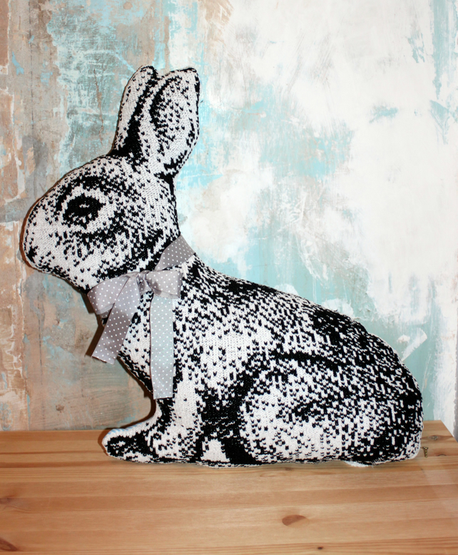 Bunny Peter Rabbit Cushion Pillow Easter Blue And White Stripes Velvet