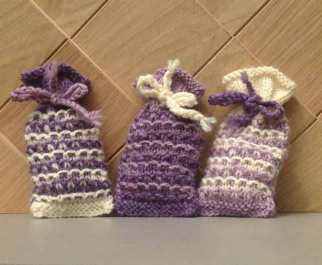 Knitting Pattern Lavender Bag : Set of three hand knitted lavender bags - Folksy