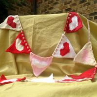 Heart Bunting - wedding, engagement, Valentine's - handknit romantic shabby chic