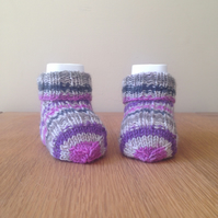 Hand knitted stripy baby socks - 0 to 3 months - pink, purple, grey, natural
