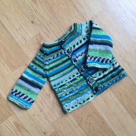 """Knitty Knotty"" baby cardigan with fair isle effect - preemie or small newborn"