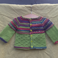 """Knitty Knotty"" baby cardigan with fair isle effect - 0-3 mths"