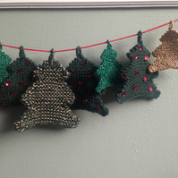 Knitted Christmas bunting - Xmas trees - traditional colours - green, gold, red