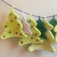 Knitted Christmas bunting - Xmas trees - modern colours - lime, purple, silver