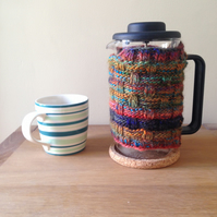 Dark rainbow cafetiere cosy - handknit - basketweave pattern - coffee cosy
