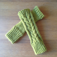 Lime Green cable pattern wrist warmers - chunky handknit - women's s-m size