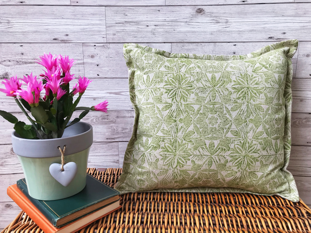 Hand Printed Linen Cushion  - ASTA - Chartreuse Green