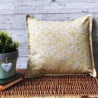 Hand Printed Linen Cushion  - ASTA - Ochre Yellow