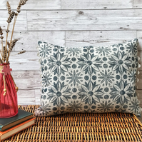 Hand Printed Linen Cushion - RUNA - Midnight Blue