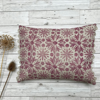 Hand Printed Linen Cushion - RUNA - Raspberry Red