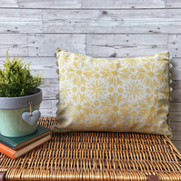 Hand Printed Linen Cushion - RUNA - Ochre Yellow