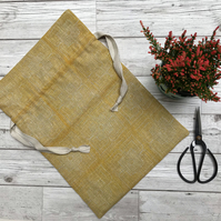 Hand Printed Linen Project Bag, Knitting Bag, Crochet Bag, Storage Bag