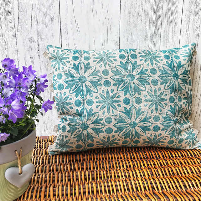 Hand Printed Linen Cushion - RUNA - Teal Blue