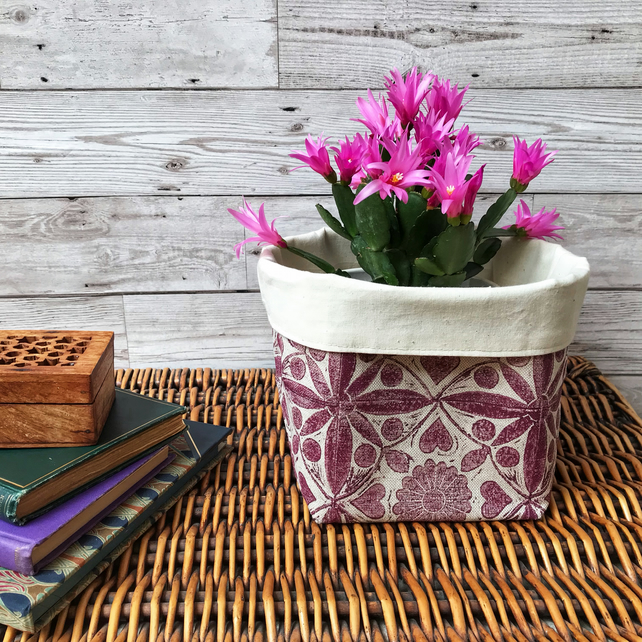 Hand Printed Linen Storage Basket, Textile Basket, Plant Pot - Raspberry Red