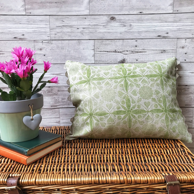 Hand Printed Linen Cushion - EIRA - Chartreuse Green