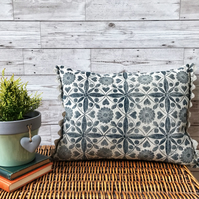 Hand Printed Linen Cushion - EIRA - Midnight Blue