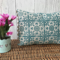 Hand Printed Linen Cushion - EIRA - Teal Blue