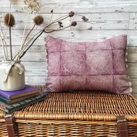 Hand Printed Linen Cushion - HERTHA - Raspberry Red