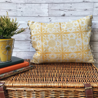 Hand Printed Linen Cushion - EIRA - Ochre Yellow