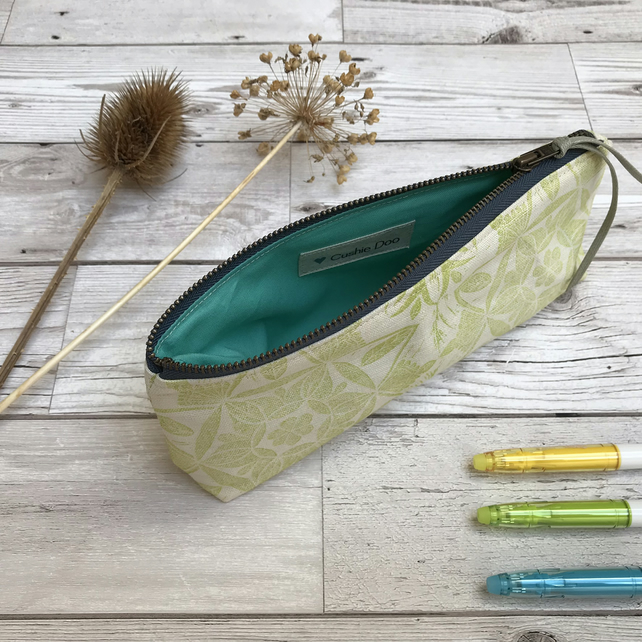 Hand Printed Linen Pencil Case, Brush Case, Cosmetic Bag