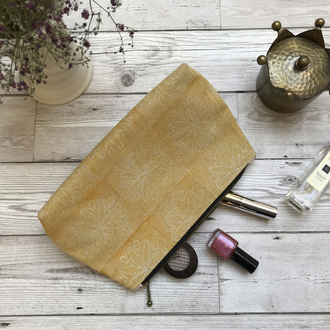 Hand Printed Linen Zipped Cosmetic Bag