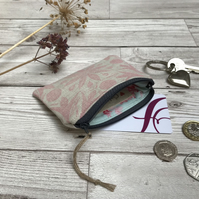 Hand Printed Linen Coin Purse, 'Peedie Purse', Credit Card Purse