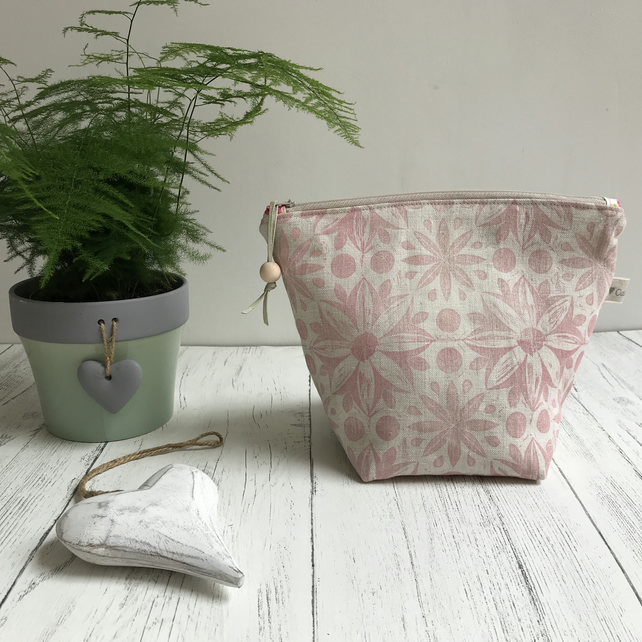 Hand Printed Linen Wash Bag, Toiletry Bag, Accessory Bag