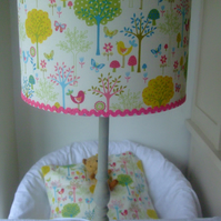 Enchanted Forest - Handmade Childrens Lampshade 30cm Ceiling Drum.