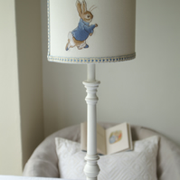 Beatrix potter Peter Rabbit  - Embroidered Handmade Nursery Lampshade 20cm Drum